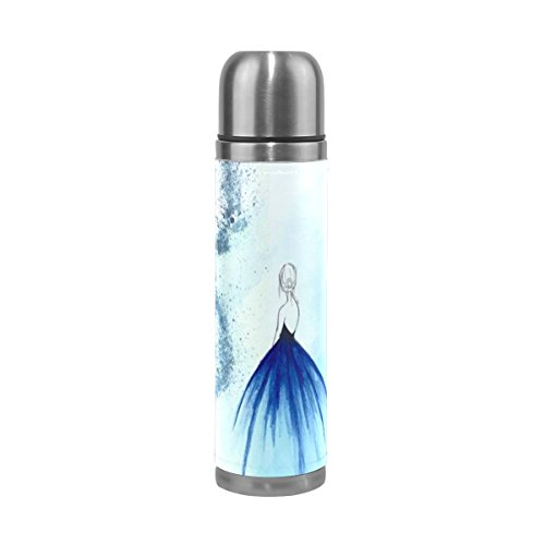 Vacuum Insulated Water Bottle Double Wall Stainless Steel Leak Proof Wide Mouth with Novelty Graphic Hand Painted Blue Literature Compact Bottle Beverage (Hand Painted 1 Liter Carafe)