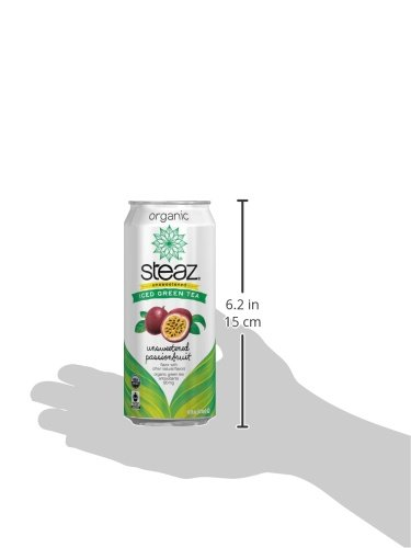 Steaz Organic Iced Green Tea, Unsweetened Passionfruit, 16 Ounce (Pack of 12) by Steaz (Image #1)