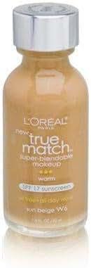 L'Oreal Paris Makeup True Match Super-Blendable Liquid Foundation, Sun Beige W6, 1 Fl Oz (1 Count)