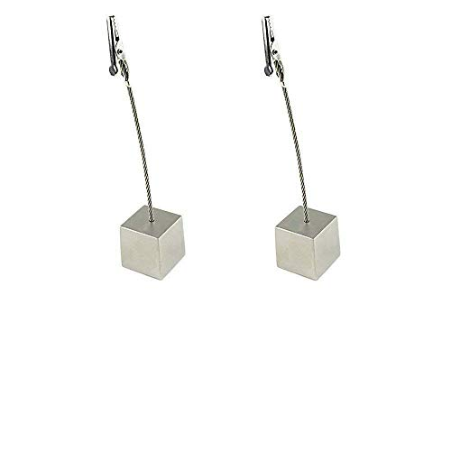 (TDL Set of 2 - Memo Clips, Number Cards, Desktop Note, Tabletop Photo Holder with Cube Shaped Nickel Plated Metal Stand.)