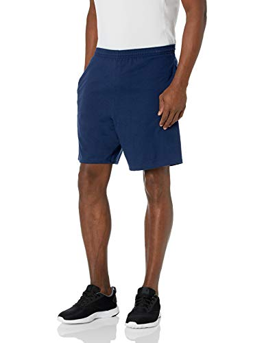 Hanes Men's Jersey Short with Pockets, Navy, Large