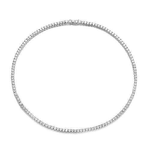 (Mytys CZ Cubic Zirconia Tennis Choker Bridal Wedding Prom Bridesmaid Jewelry CZ Collar Choker Necklace Silver Plated)