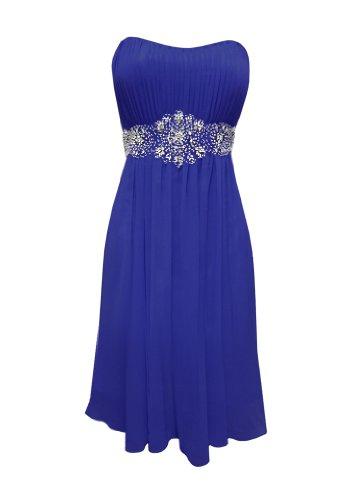 Strapless Chiffon Goddess Short Gown Prom Dress Formal Bridesmaid Junior Plus Size - Royal - S