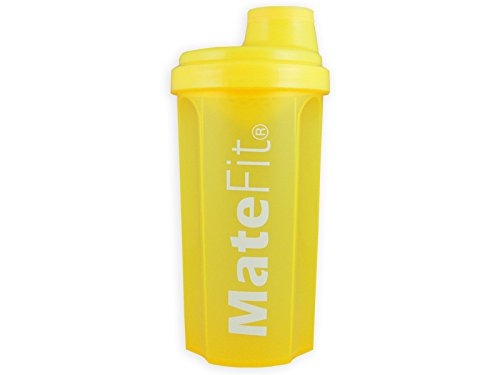Shaker Bottle Yellow - MateFit , with mesh lid to mix lumps and to stop ice cubes when drinking , 700 ml / 24 Ounce with a track record of positive user reviews
