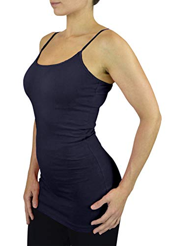 Belle Donne Womens Solid Color Stretch Camisole Spaghetti Strap - Navy/Small