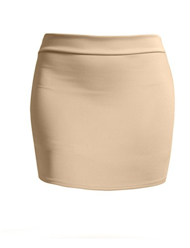 J. LOVNY Women's Double Layered Stretch Bodycon Mini Pencil Skirt Made In USA , Jlwsk09-beige, XX-Large -