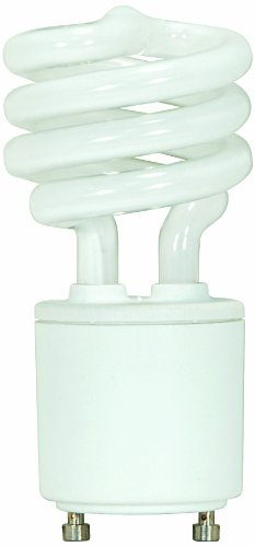 Satco S8208 13 Watt (60 Watt) 880 Lumens Mini Spiral CFL Bright White 4100K GU24 Base Light Bulb