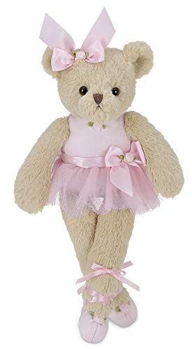 Bearington Nina Plush Stuffed Animal Ballerina Teddy Bear in Pink Ballet Outfit, 13 inches from Bearington Collection
