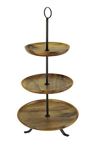 (Things2Die4 Rustic Round Wood Standing 3 Tiered Serving Tray)