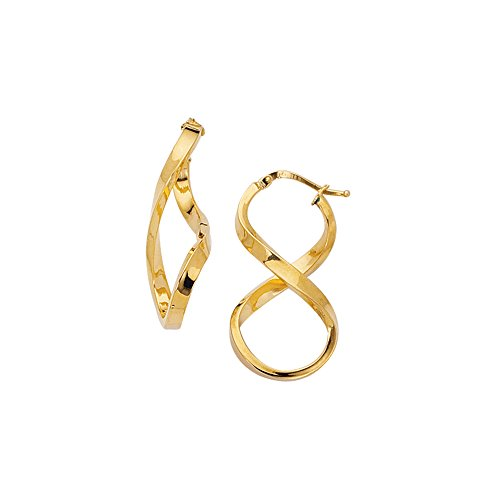 (Aleksa Ladies 14K Yellow Gold Shiny Twisted Oval Shape Freeform Hoop Earrings with Hinged Clasp)