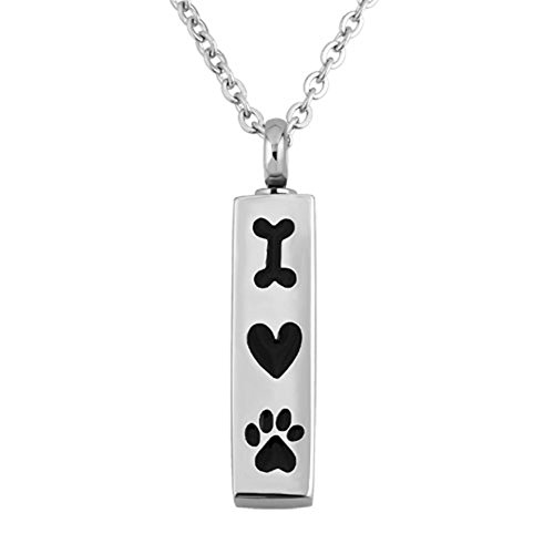 - Moonlight Collections Bar Urn Necklace for Pet Ashes I Love Dog Heart Keepsake Pendant Jewelry