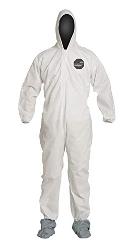 DuPont 2X White SafeSPEC 2.0 12 mil ProShield® Basic Chemical Protection Coveralls With Standard Fit Hood, Skid-Resistant Boots And Elastic Wrists