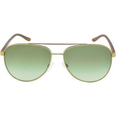 Michael Kors HVAR MK5007 Sunglasses 10432L-59 - Gold Wood Frame, Green Gradient