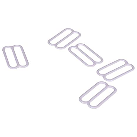 Porcelynne White Nylon Coated Metal Replacement Bra Strap Slide - 3/4 (18mm) Opening - 10 Pairs (20 Pieces) 4337006288