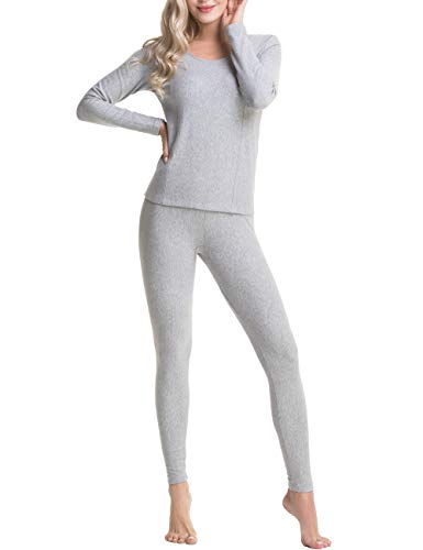 (AIFER Women's Crewneck Thermal Underwear Long Johns Set with Long Sleeve Tops & Fleece Lined Bottoms)