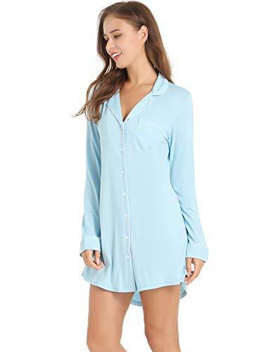 Amorbella Womens Button Down Night Shirt Long Sleeve SleepShirt Viscose PJ Top Night Gown (Light Blue,Medium)