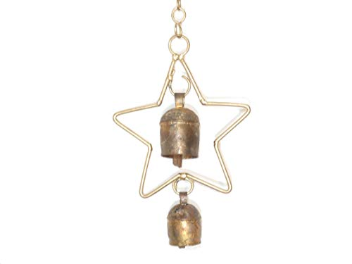 (Moksha Handcrafted Hanging Wind Noisemaker Ornament with 2 Nana Bell - Star)
