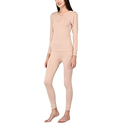 VDRNY Women's Sleepwear Knit Long Sleeve Henley and Pant Pajamas PJ Set Thermal Underwear Base Layer