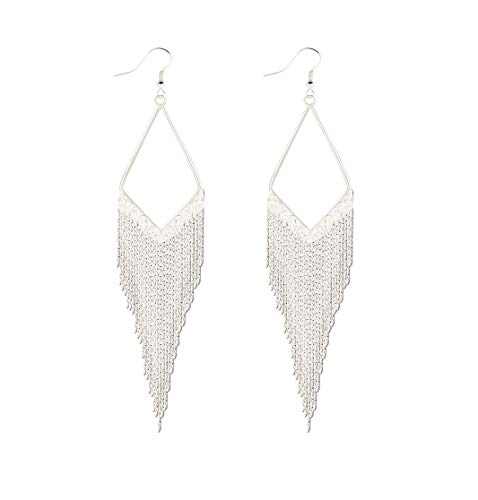 (Gold Sliver Tassels Cascading Fringe V-Drop Shoulder Duster Drop Extra Long Earring-sliver)