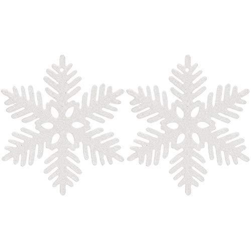 Sea Team Plastic Christmas Glitter Snowflake Ornaments Christmas Tree Decorations, 4-inch, Set of 36, White (White Glitter Tree)