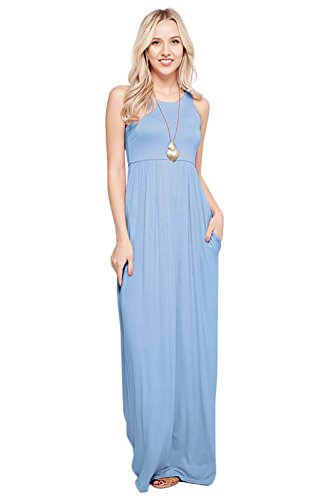 (Maxi Dresses for Women Solid Lightweight Long Racerback Sleeveless W/Pocket -Light Blue (2X))