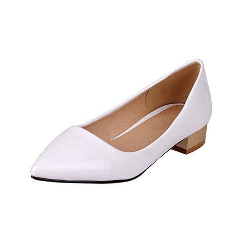 AmoonyFashion Womens Pull On Low Heels Patent Leather Solid Pointed Closed Toe Pumps-Shoes White lUpKx8a3d