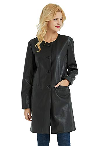 PANAPA Women's Smooth Touch Faux Leather Buttoned - Buttoned Leather Faux