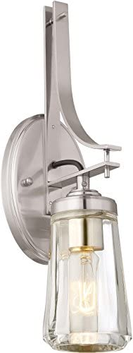 Minka Lavery Wall Light Fixtures 2302-84 Poleis Wall Bath Vanity Lighting, 2-Light, 120 Watts, Brushed Nickel