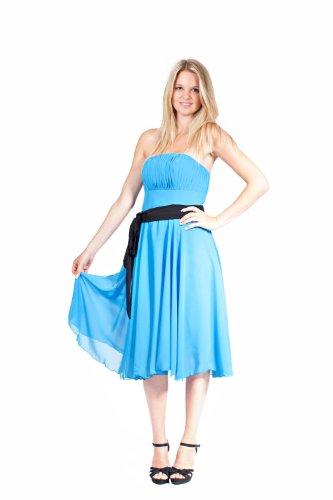 Blau Abendkleid Länge Cocktailkleid Festliches Chiffonkleid Kleid Chiffon AvaMia knielang 8wTCqx