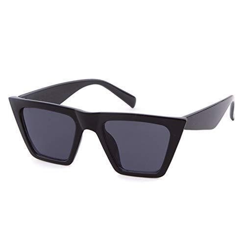 SORVINO Vintage Sunglasses Retro Cateye Sunglasses for Women Men Square Frame (Black/Grey, ()