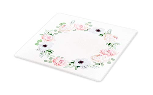 - Ambesonne Anemone Flower Cutting Board, Delicate Peony Rose Brunia Eucalyptus Leaves Round Wreath, Decorative Tempered Glass Cutting and Serving Board, Large Size, Almond Green Pale Pink White