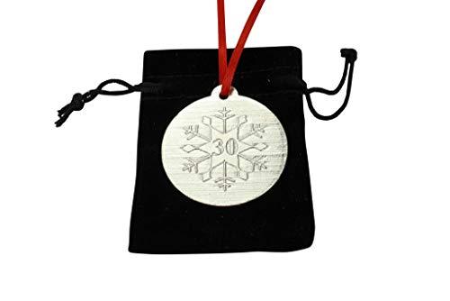 30th Christmas Snowflake Metal Decoration - 30th Anniversary Idea -