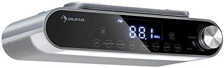 auna KR-130 - Radio de Cocina, Bajo Mueble, Estéreo, Bluetooth, Manos Libres, FM-PLL, Iluminación LED, Alarma, Control táctil, Memoria 40 emisoras, Temporizador, Autoapagado, Plateado