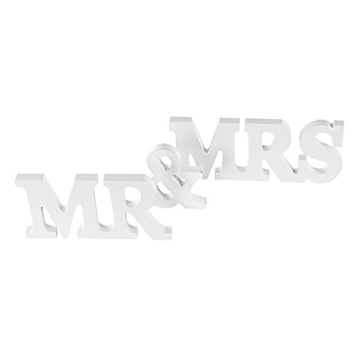 Super Z Outlet White Wooden Mr and Mrs Signs Wedding Present for Party Table Top Dinner Decoration, Display Stand Figures, Home Wall -