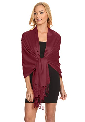 Simlu Burgundy Pashmina Shawls and Wraps for Wedding Burgundy Scarf for Women One Size - Gowns Dessy Bridesmaids
