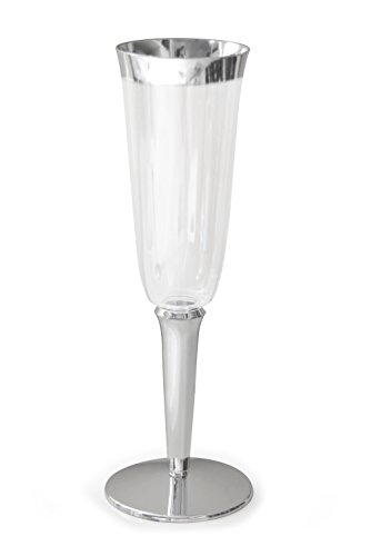 Occasions - Plastic Disposable Champagne Flutes. Clear with Silver base and rim (60)