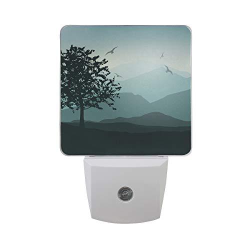 Plug-in LED Night Light (Indigo Landscape Bird) Smart Auto Dusk to Dawn Night Light Senor for Kids, Baby, Adults, Bedroom, Kitchen, Hallway, Stairs, Corridor (Lasts up to 100,000 ()