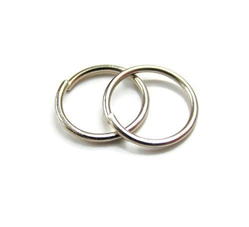 Palladium White Gold Small Hoop Earrings Sensitive Ear Lobe Cartilage One Pair 20G 8mm by DesignedbyGrace