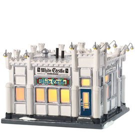 Department 56 Snow Village White Castle Hamburger Restaurant Miniature Lit Building by Department 56