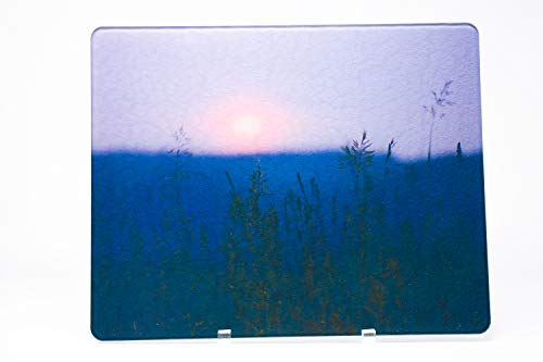 (Ethereal Sunset Michigan Countryside Glass Cutting Board, Reduced price Dark Print)