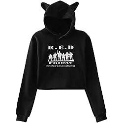 Girls Red Friday Remember Everyone Deployed Cute Cat Ear Hoodie Sweatshirts Midriff-Baring Hoody Sweater