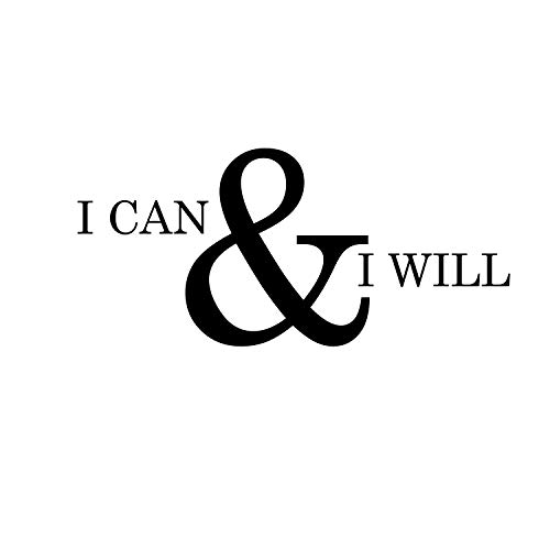 Motivational and Inspirational do it Yourself Art Decal/I can and I Will 11 x 23 Wall Decoration Vinyl Sticker-Black