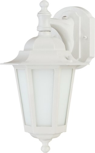 Light Down 1 Arm (Nuvo Lighting 60/2204 One Light Cornerstone Wall Lantern/Arm Down with Frosted Glass and Photocell, White)