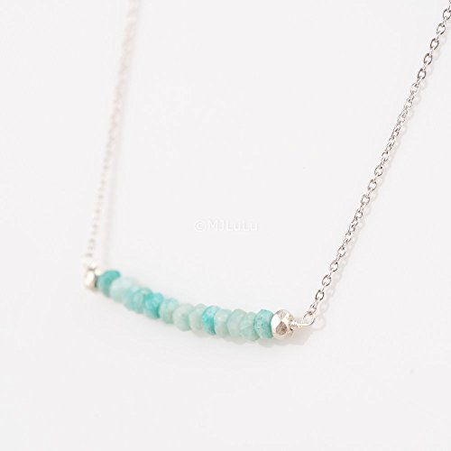 Dainty Amazonite Stone Bar Sterling Silver Green Gemstone Necklace (Amazonite Stone Pendant)