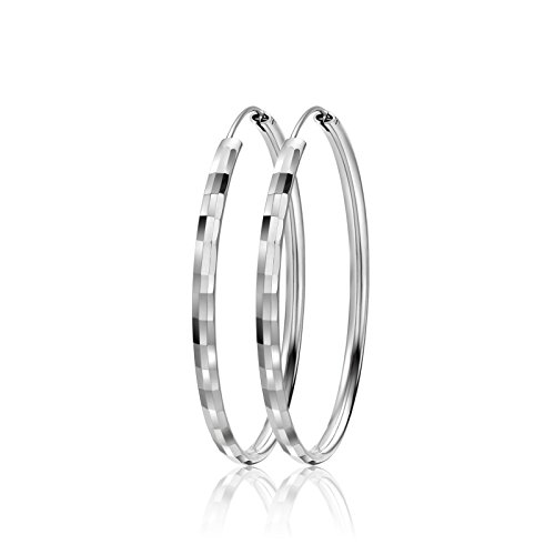LIUANAN 925 Sterling Silver 50mm& 55mm & 60mm Round Hoops Earrings Fashion Sport Ear Stud Pair (Square50mm) (55mm Hoop)