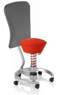 Aeris Swopper Classic - Bezug: Microfaser / Ferraro-Rot | Polsterung: Tempur | Fußring: Titan | Spezial-Rollen für Teppichböden | mit Lehne und grauem Microfaser-Lehnenbezug | Körpergewicht: MEDIUM