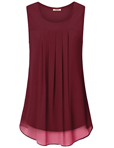 Timeson Women's Chiffon Blouse,Women Tunic Tank, Women's Solid Color Scoop Neck Sleeveless Tunic Tank Top Double Layer Chiffon Blouses Top For Office Work Wine Medium