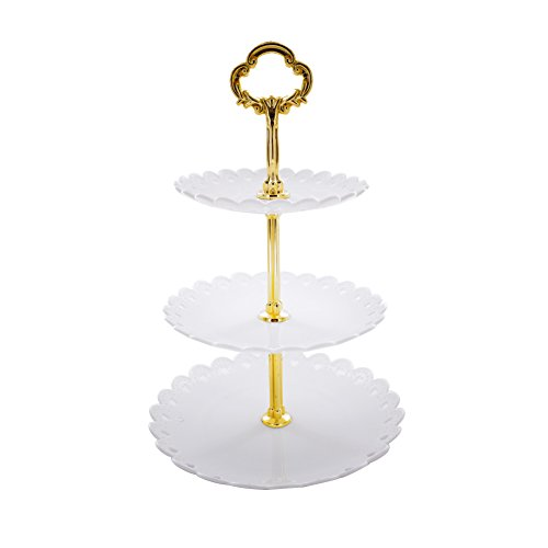 Artliving 3-tier Plastic Cake Stand-Dessert Stand-Cupcake Stand-Tea Party Serving Platter White Gold -