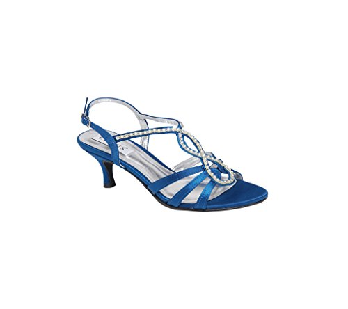 Womens Low Heel Sandals With Diamante Trim On The Top Wedding Bridal Party Prom Shoes Blue xOQp6Qh3