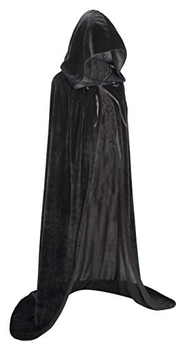 Cloak with Hood Velvet Cape Halloween Costume for Men Women (Black,59